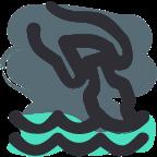 Icono recogiendo botella del mar